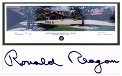 Ronald Reagan Signed Panoramic Photo of His Presidential Library -- Limited Edition Photo Measures 17 x 8