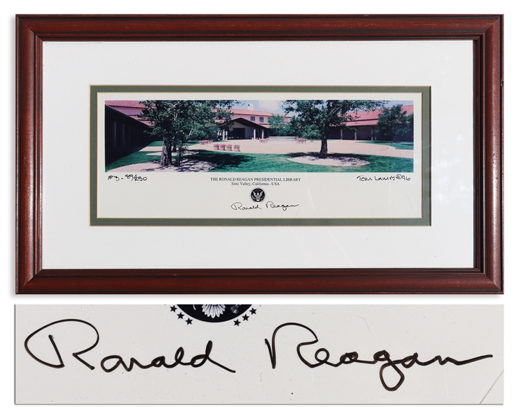 Ronald Reagan Signed Panoramic Photo of His Presidential Library -- Unusually Signed by Reagan Under the Presidential Seal