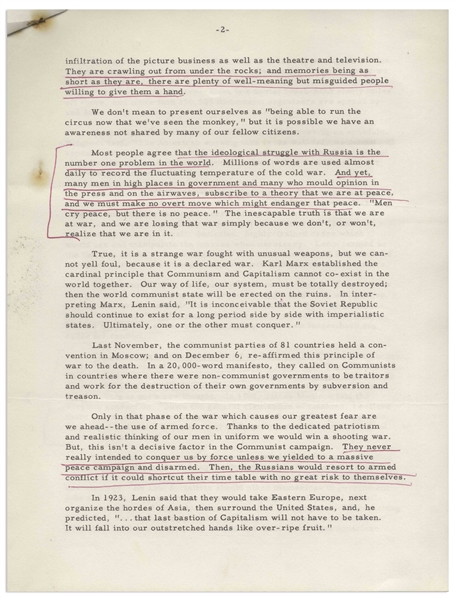 Ronald Reagan Signed Speech From 1961 Regarding the Threat of Communism & Hollywood Blacklisting -- With University Archives COA