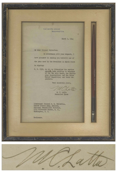 Franklin D. Roosevelt Pen Used as President to Sign a Bill Regarding Veterans' Pensions