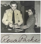 Rosa Parks Signed 10 x 8 Photo of Her Being Booked After Her Arrest -- With JSA COA