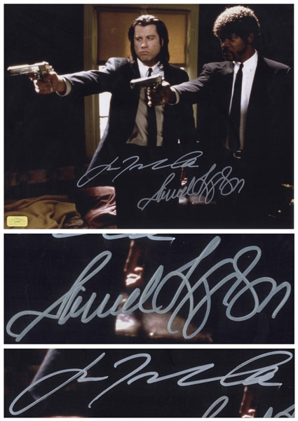 John Travolta and Samuel L. Jackson Signed 14 x 11 Photo From Pulp Fiction