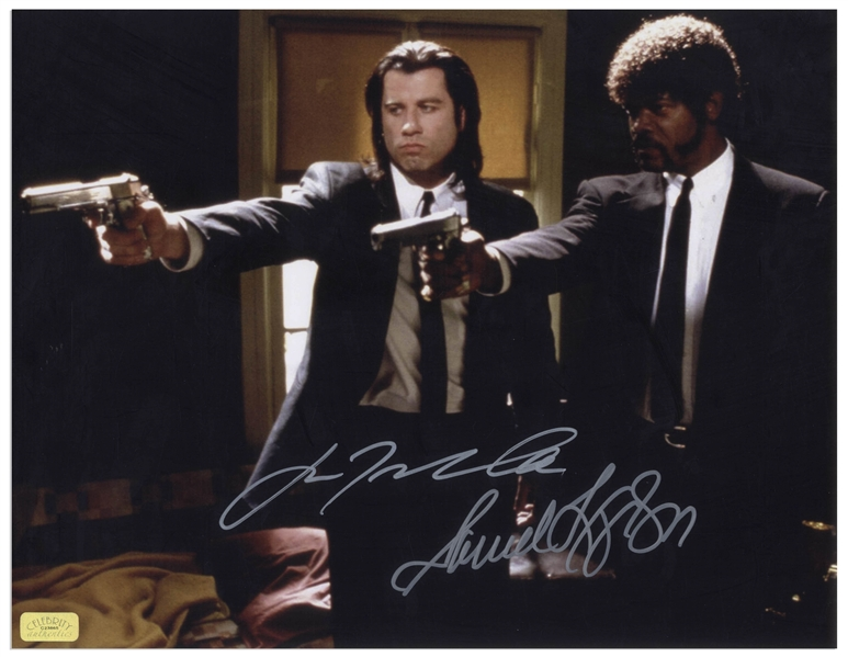 John Travolta and Samuel L. Jackson Signed 14'' x 11'' Photo From ''Pulp Fiction''