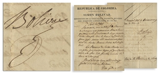 Simon Bolivar 1820 Document Signed as the First President of Gran Colombia -- During the War for Independence From Spain, Bolivar Orders that All Available Troops March Against the Province of Mompox