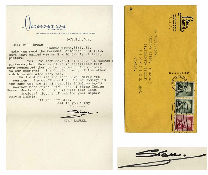 Stan Laurel Letter Signed -- ...Yes Ive seen several of those Wax Museum pictures, the likeness of me is especially poor...