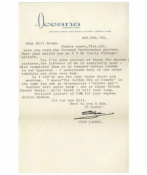 Stan Laurel Letter Signed -- ''...Yes I've seen several of those Wax Museum pictures, the likeness of me is especially poor...''