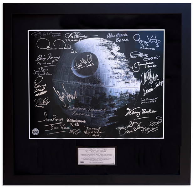 Star Wars'' 20'' x 16'' Photo Signed by 23 of the Cast -- Many With Personal Notes Such as Carrie Fisher Writing ''I know...Did you?'' -- With Becket COA for All Signatures