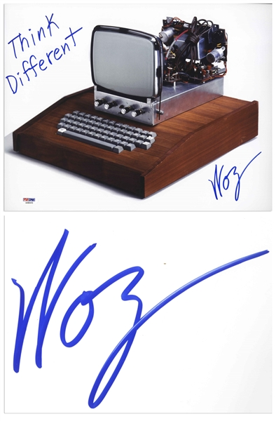 Steve Wozniak Signed 14'' x 11'' Photo of the Apple 1 Computer, Writing ''Think Different'' -- With PSA/DNA COA