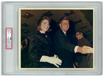 Original 10 x 8 Photo of John and Jackie Kennedy Taken by Cecil W. Stoughton the Night Before the Assassination -- Encapsulated & Authenticated by PSA as Type I Photograph