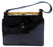 Wallis Simpson, the Duchess of Windsor Owned Black Patent Leather Handbag With Her Embroidered Cypher Below a Crown