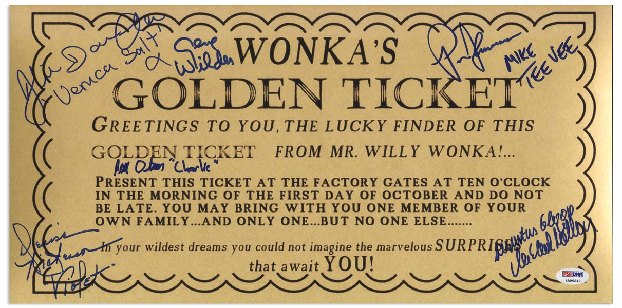 Willy Wonka Cast-Signed Golden Ticket Poster -- With PSA/DNA and JSA COAs for All Six Signatures