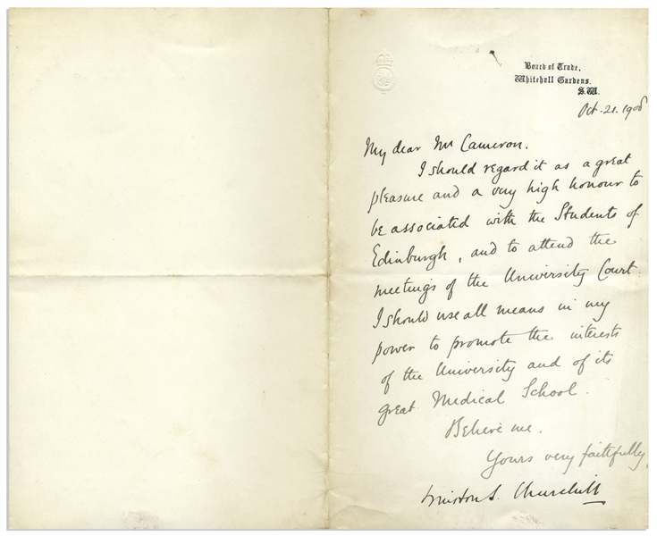 Winston Churchill Letter Signed as President of the Board of Trade in 1908