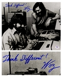 Steve Wozniak Signed 14 x 11 Photo of Him With Steve Jobs, Writing Think Different! -- With PSA/DNA COA