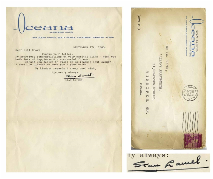Stan Laurel Letter Signed With His Full Signature -- My heartiest congratulations on your marital plans...