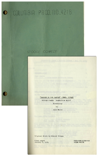 Moe Howards Own Three Stooges Script for Scotched in Scotland From 1954, With Hand-Annotations by Moe Including His Signature -- From the Personal Estate of Moe Howard
