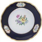 Margaret Thatcher Personally Owned China -- Colorful Cake Plate in a Navy Blue Floral Pattern