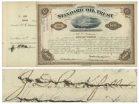 John D. Rockefeller Signed Stock Certificate for Standard Oil Trust From 1883