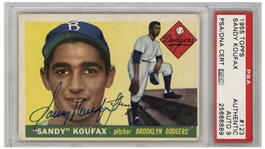 Sandy Koufax Signed 1955 Topps Rookie Card #123 -- Autograph Graded 9 by PSA/DNA