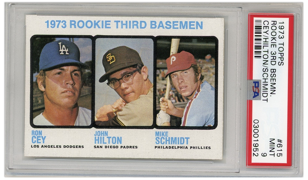 Mike Schmidt Phillies 3rd Basemen 1973 Topps Rookie Card #615 -- Graded PSA Mint 9