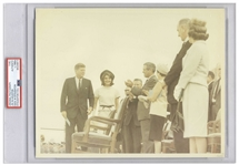 Original 10 x 8 Photo of John and Jackie Kennedy Taken by Cecil W. Stoughton in Houston the Day Before the Assassination -- Encapsulated & Authenticated by PSA as Type I Photograph