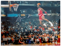 Michael Jordan 40 x 30 Signed Photo From the 1988 Slam Dunk Contest Showing Jordans Perfect Scoring Slam Dunk -- With Upper Deck COA