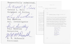 Lee Harvey Oswald Arrest Document With Fascinating Account of Oswalds Apprehension -- Signed by All Four Arresting Officers -- ...the officer and the suspect wrestled for the gun...