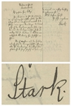 Nobel Prize Winning German Scientist Johannes Stark Autograph Letter Signed From 1920 -- ...It is necessary that the Berliners experience a sweeping reduction of their influence in Nauheim...