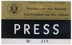 Press Badge for President Kennedys Texas Welcome Dinner, Slated for the Night He Was Assassinated