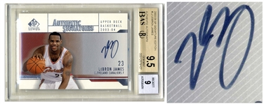 LeBron James Signed 2003-04 Upper Deck Signature Edition Card, James Rookie Year -- Beckett Graded 9.5 for Card & 9 for Autograph