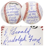 Gerald Ford Signed Baseball, With Ford Also Handwriting the Presidential Oath of Office