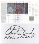 Charlie Duke Signed & Hand-Notated Apollo 16 Lunar Map