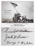 Iwo Jima Photo Signed by Three Medal of Honor Recipients of the Battle -- Large Photo Measures 12.75 x 10