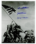 Iwo Jima 11 x 14 Photo Signed by Three Medal of Honor Recipients of the Battle -- With Beckett COA