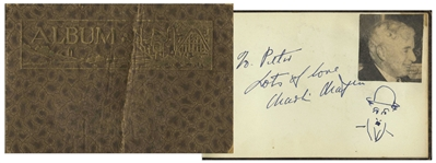 Charlie Chaplin Autograph & Self-Portrait Sketch of Himself as The Tramp -- Also Signed by Douglas Fairbanks, Jr., Leslie Howard & More