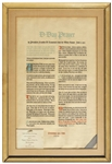 Franklin D. Roosevelt D-Day Prayer Broadside -- One of a Select Few Given to Roosevelts Staff at Christmas in 1944
