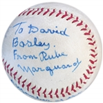 Rube Marquard Single-Signed Baseball -- Marquard Also Writes, Member of the Baseball Hall Of Fame