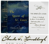 Charles Lindbergh Signed Copy of The Spirit of St. Louis -- Inscribed to WWII General Levin H. Campbell, Jr.