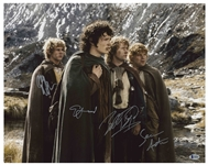 Lord of the Rings Cast-Signed 20 x 16 Photo -- Signed by Elijah Wood, Sean Astin, Billy Boyd and Dominic Monaghan -- With Beckett COA