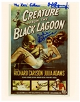 Creature From the Black Lagoon Cast-Signed 8 x 10 Photo of the Poster -- Signed by the Creature Ben Chapman, and Also by Julie Adams