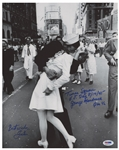 Photo of the Iconic Times Square Kiss to Celebrate the End of World War II, Signed by the Couple Greta Zimmer & George Mendonsa -- Photo Measures 11 x 14, With PSA/DNA COA