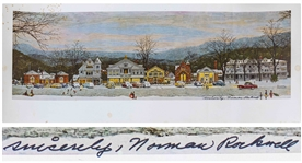 Norman Rockwell Signed Print of His Beloved Piece Stockbridge Main Street at Christmas