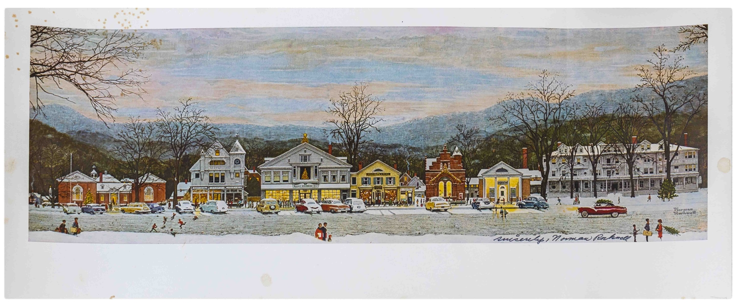 Norman Rockwell Signed Print of His Beloved Piece ''Stockbridge Main Street at Christmas''