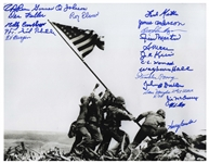 Raising the Flag on Iwo Jima 14 x 11 Photo Signed by 21 WWII Pacific Theater U.S. Marines