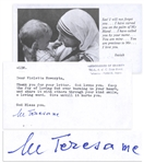 Mother Teresa Letter Signed -- ...Keep the Joy of loving God ever burning in your heart...