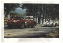 Phil Mans Signed Limited Edition Lithograph of Hill at Le Mans, 1958 by Artist Michael Mate