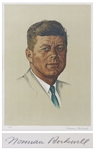 Norman Rockwell Signed Lithograph of John F. Kennedy -- One of the Rare Artist Proofs