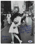 Photo of the Iconic Times Square Kiss to Celebrate the End of World War II, Signed by the Couple Greta Zimmer & George Mendonsa -- Photo Measures 8 x 10, With PSA/DNA COA
