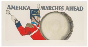 Norman Rockwell Signed Artist Proof Lithograph of America Marches Ahead -- Large Lithograph Completed in 1975