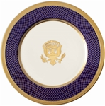 Scarce Oval Office Service Plate From the Bill Clinton Administration -- Beautiful Navy Blue Hatched Design