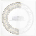 Original Lenox Artwork for the Clinton 200th Anniversary White House China -- Artwork for Service Plate Features White House at Center